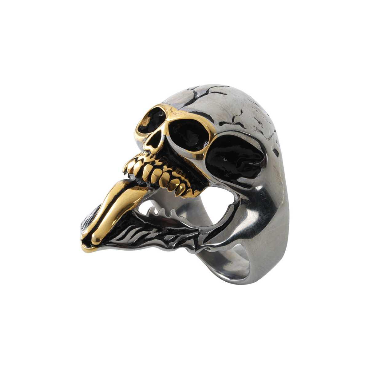 Silver Shine Stainless Steel Gothic Bikers Skull Finger Ring for Boys and Men