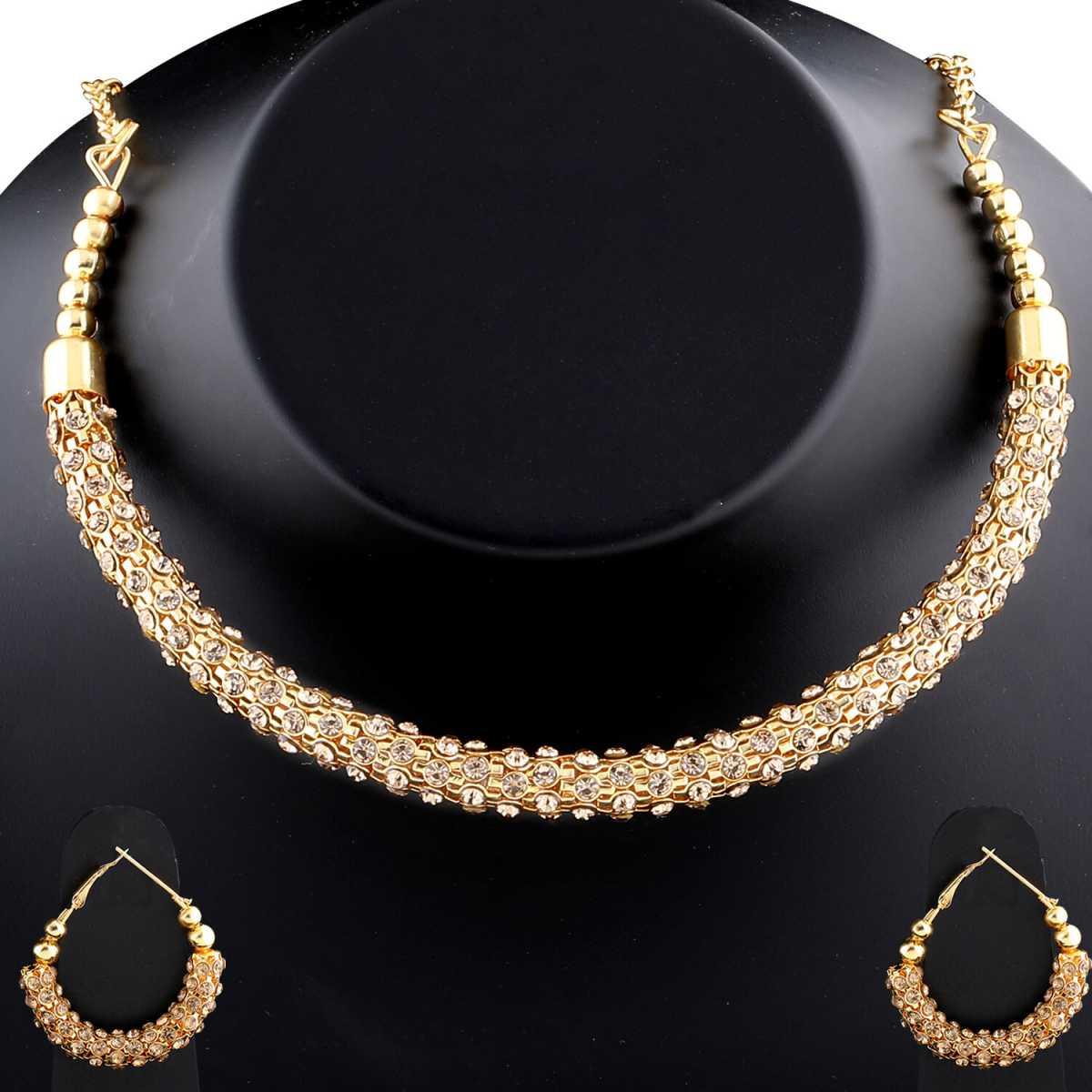 Amazing Goldplated Diamond Studded Designer Hasli Necklace set For women Jewellery