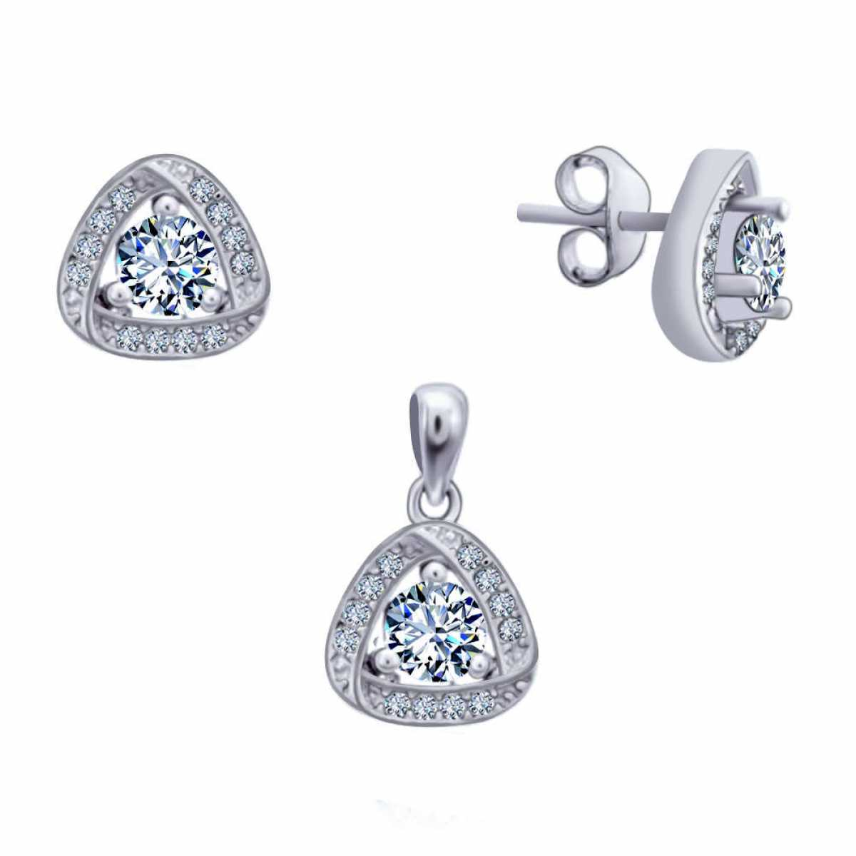 Diamond With Triangle Pendant Set