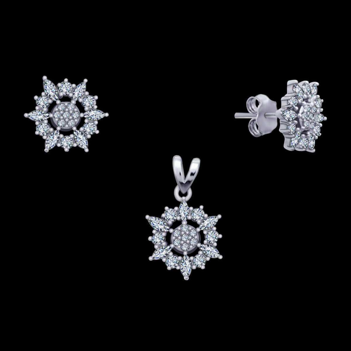 Four Cross Silver Pendant Set