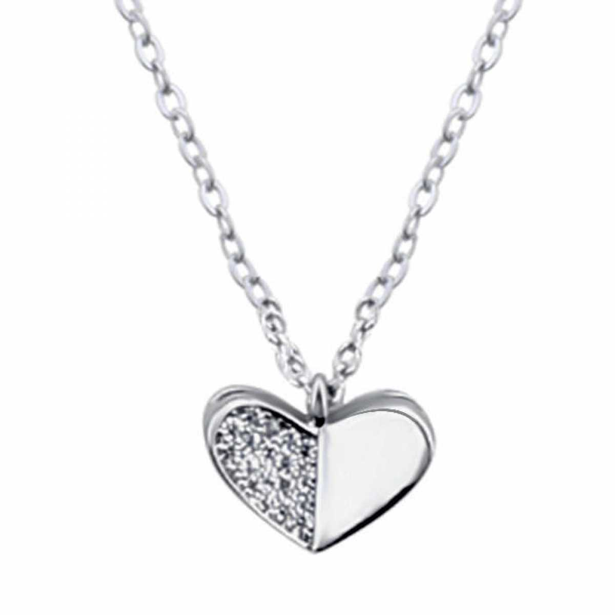 Lovely Silver Diamond Heart Chain