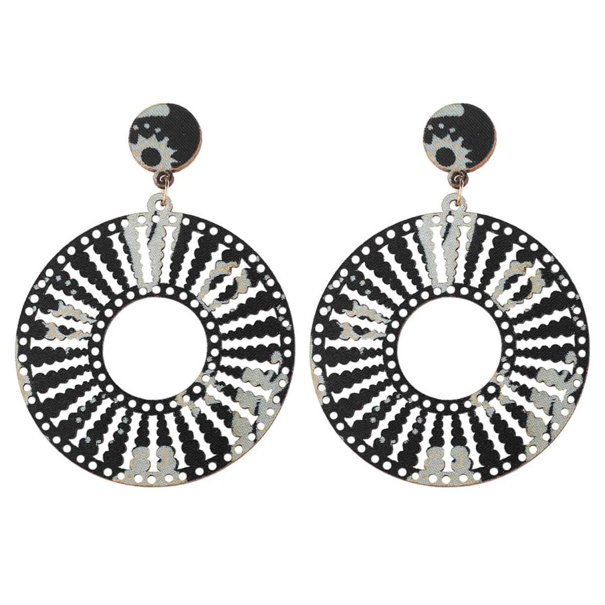 SILVER SHINE Designer Dangler Wooden Light Weight Earrings for Girls and Women.