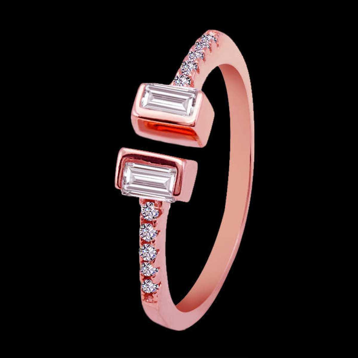 Rose-gold Bucket Diamond Silver Ring