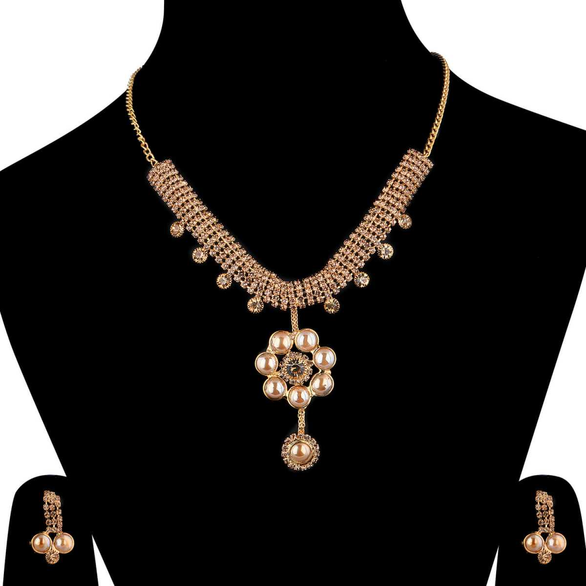 SILVERSHINE Goldplated Traditional Golden Diamond And pearl Necklace set  for women jewellery