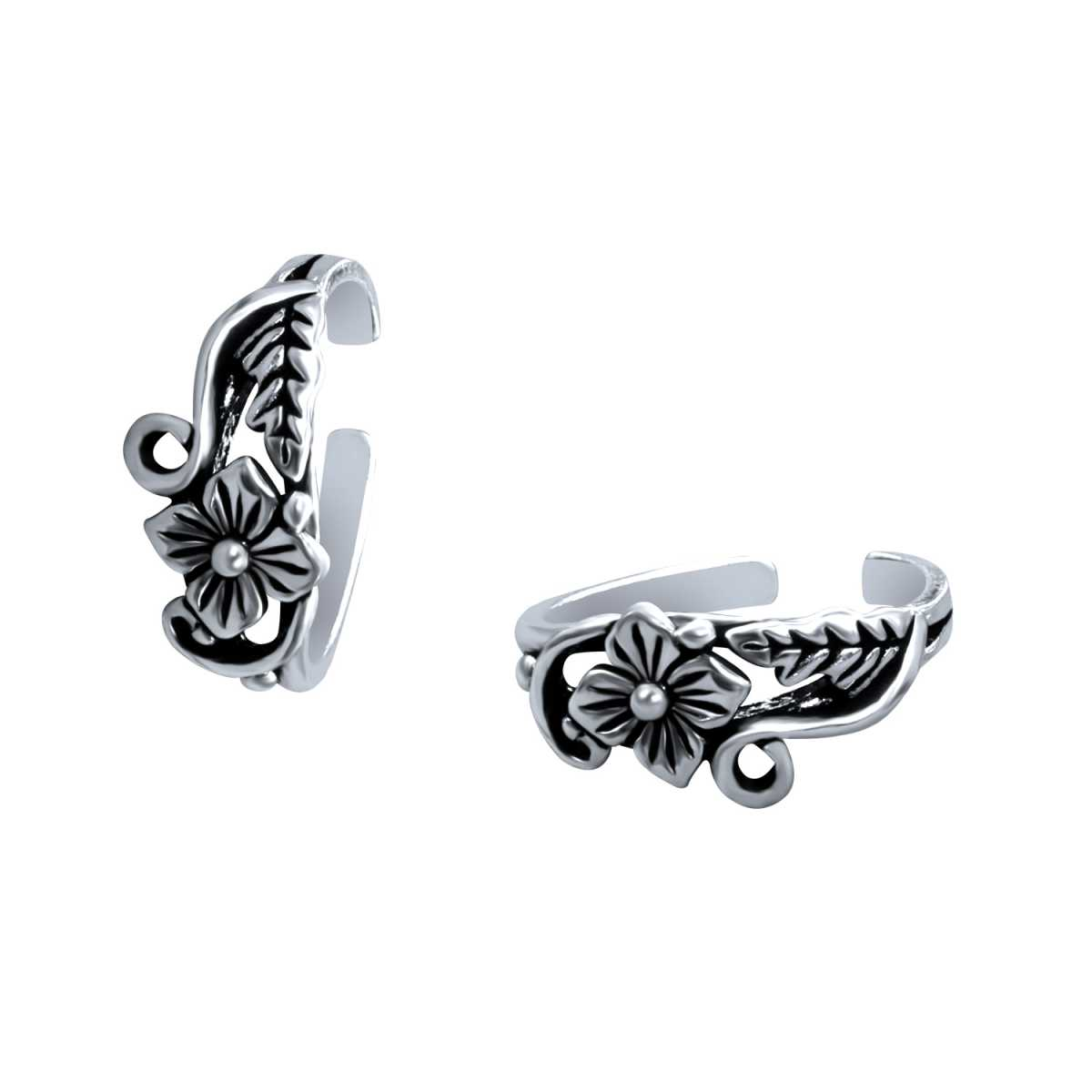 Charming Oxidised Flower  Toe Rings
