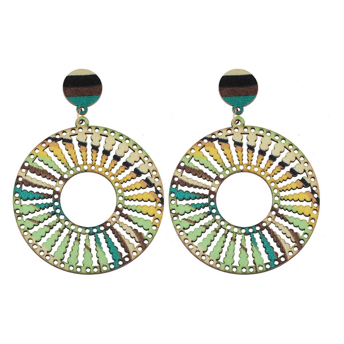 SILVER SHINE Exclusive Wooden Earrings Round Dangler Light Weight for Girls and Women.
