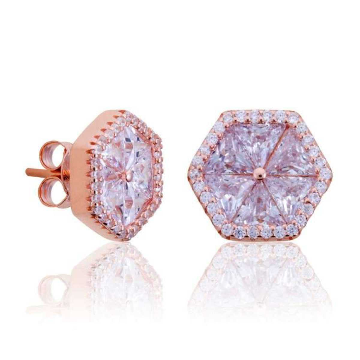 Rose Gold Octagon  Diamond Earring