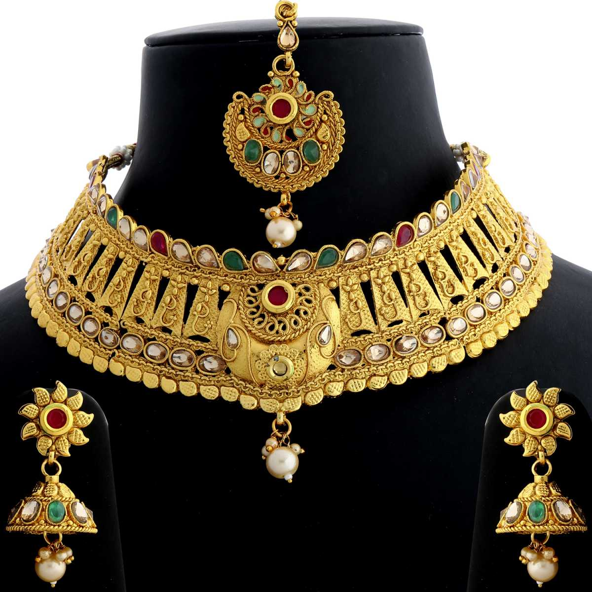 Silver Shine Gold Plated Choker Traditional Unique kundan Red and Green Stone Studded Design With Pearl Drop  Designer Bridal Wedding Necklace jewellery set for Girls And Women