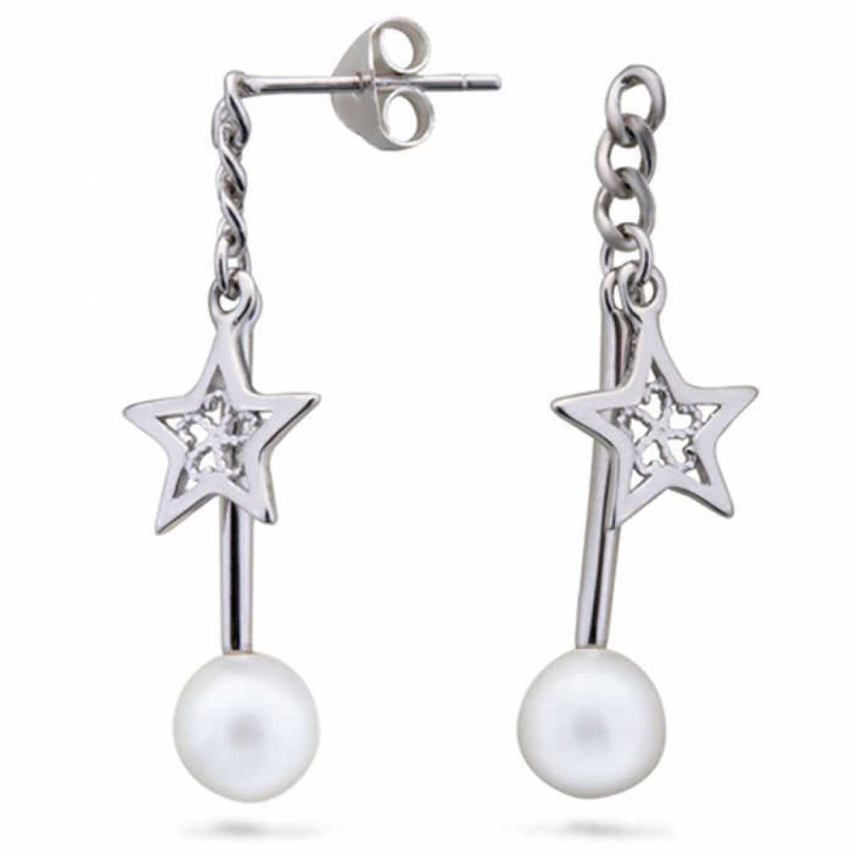Star And Pearl Hanging Earring