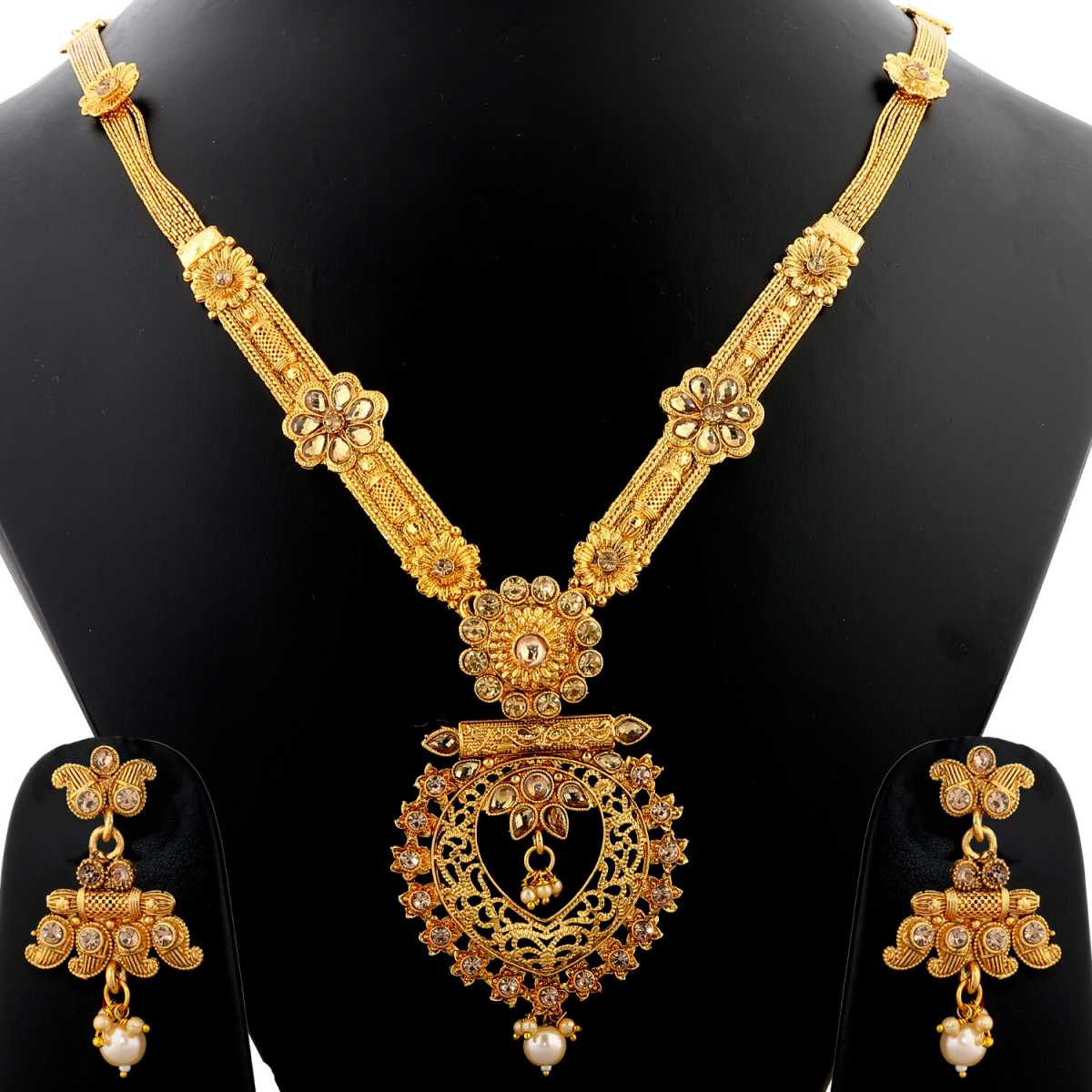 Silver Shine Gold Plated Traditional Long Necklace Set With Pearl Drop And White Stone Studded  Jewellery  For Women  And Girls