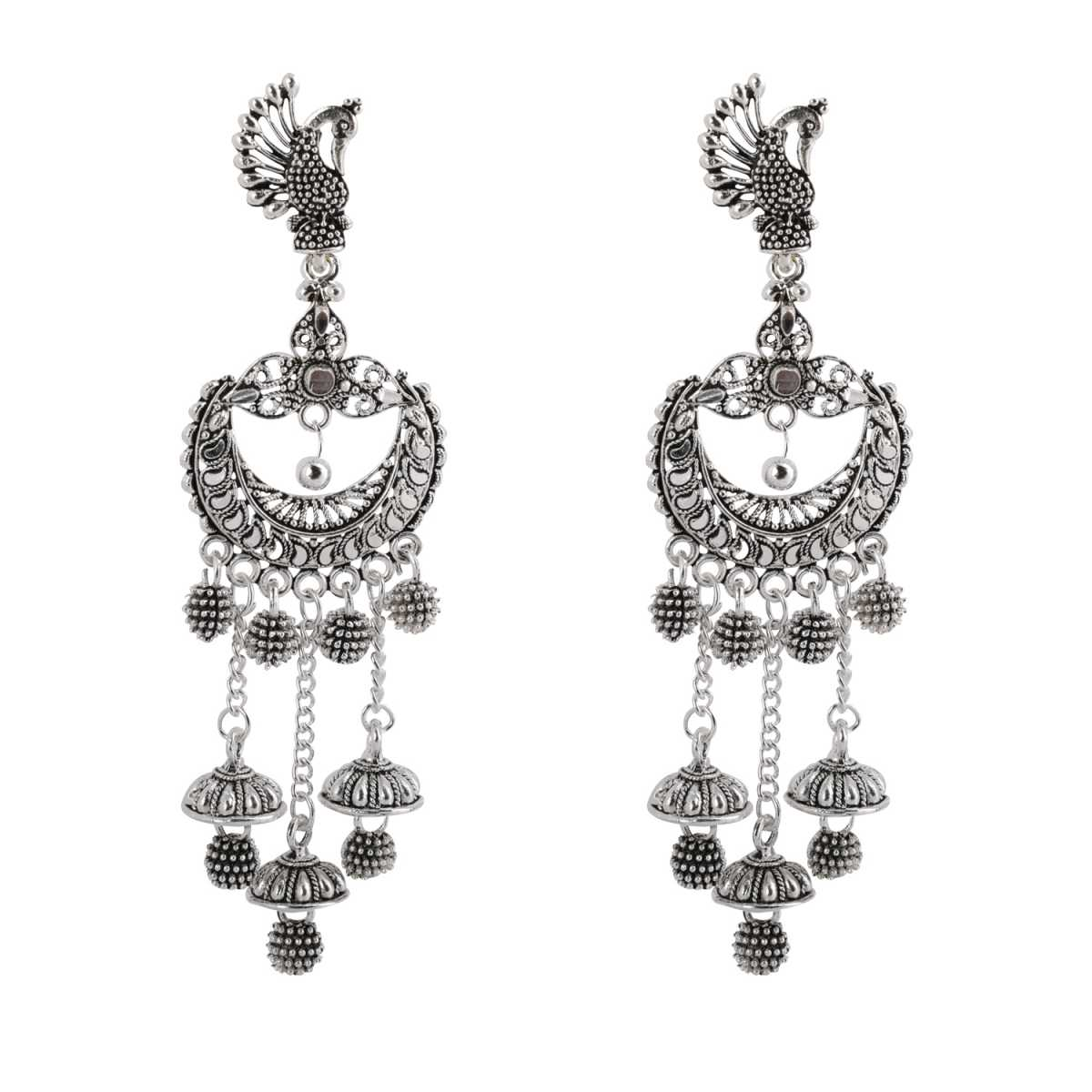 Silver Shine Glitzy Peacock Multi Dangle  Jhumki Earrings for Women