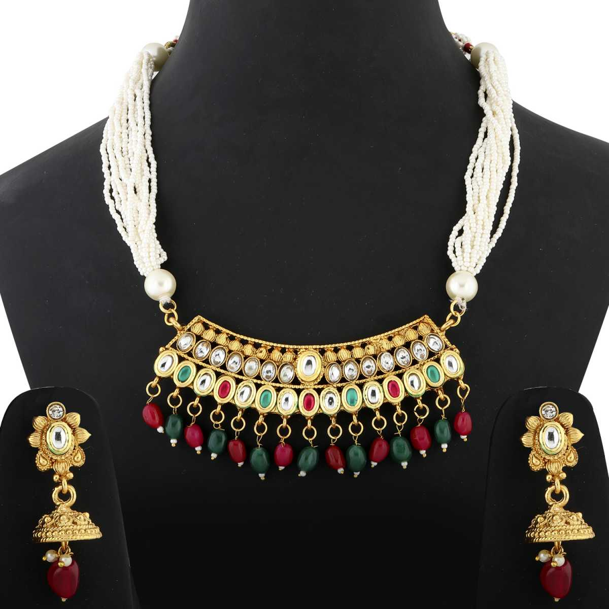 Silver Shine exlusive Gold plated Traditional Red,Green and White Stone kundan Studded with Multi White bead line chain type Designer Mala Wedding Necklace jewellery set for Girls And Women