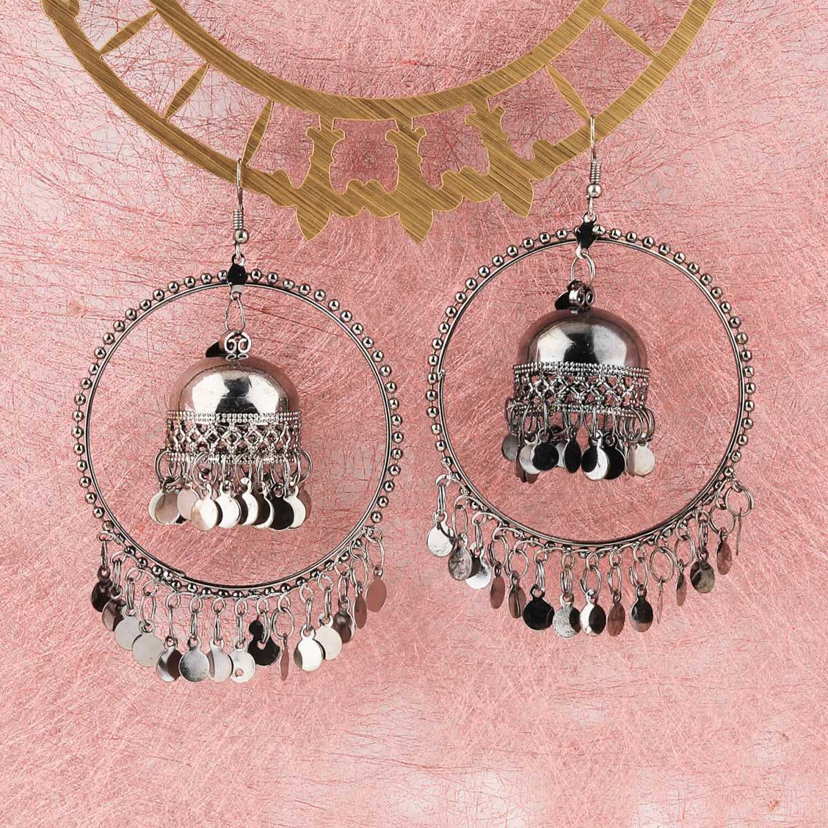 Silver Shine Stylish Party Wear Silver Black jumki Dangle Earrings For Women Girl