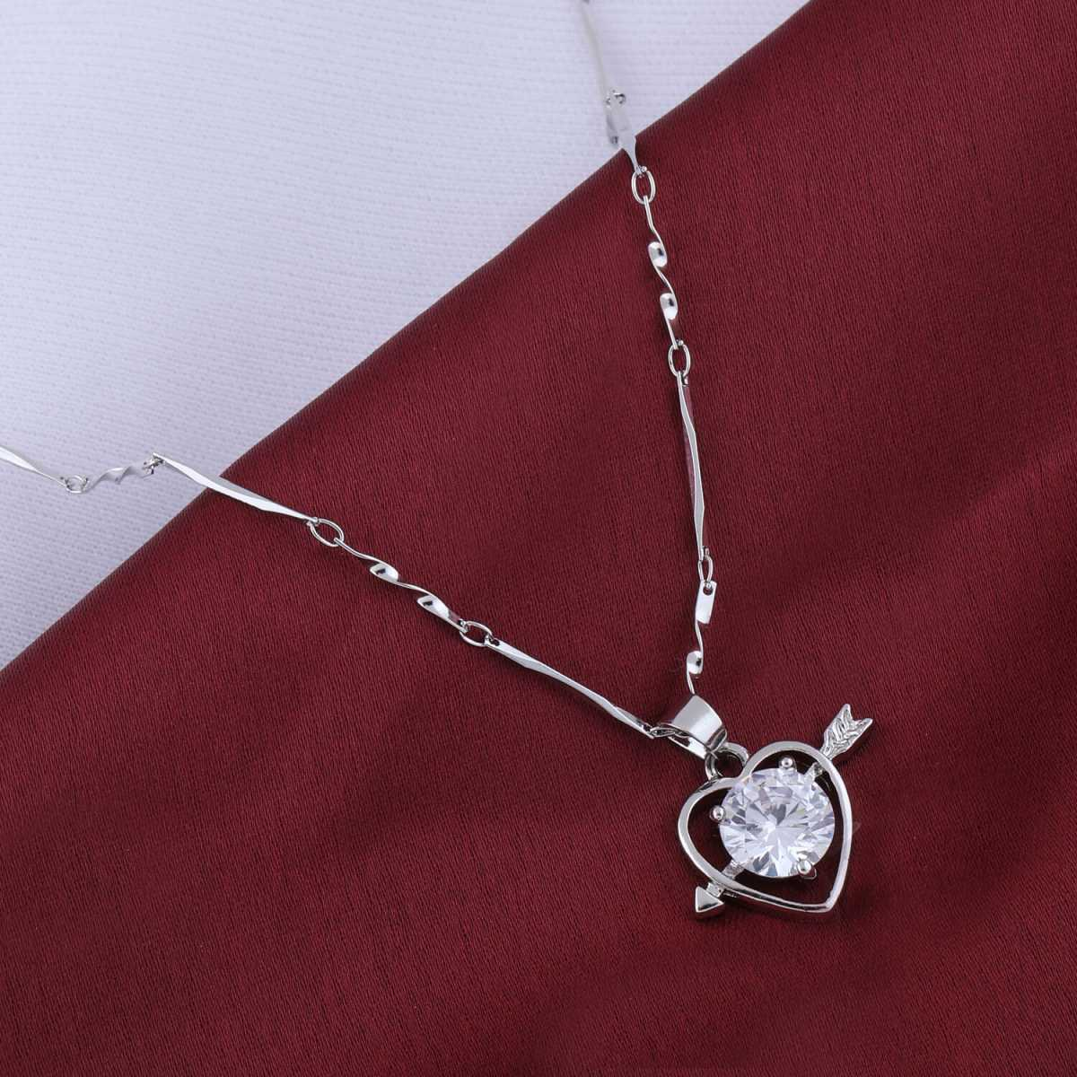 Silver Plated Chain With  Two Way Heart  Big Stone Pendant For Women