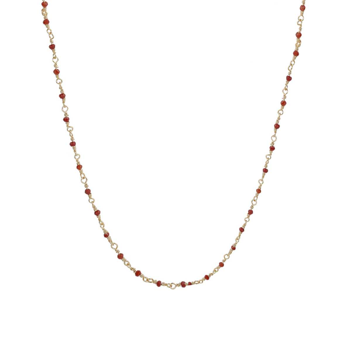Graceful Gold 18 Inch Chain With Red Beads For Girls And Women Jewellery