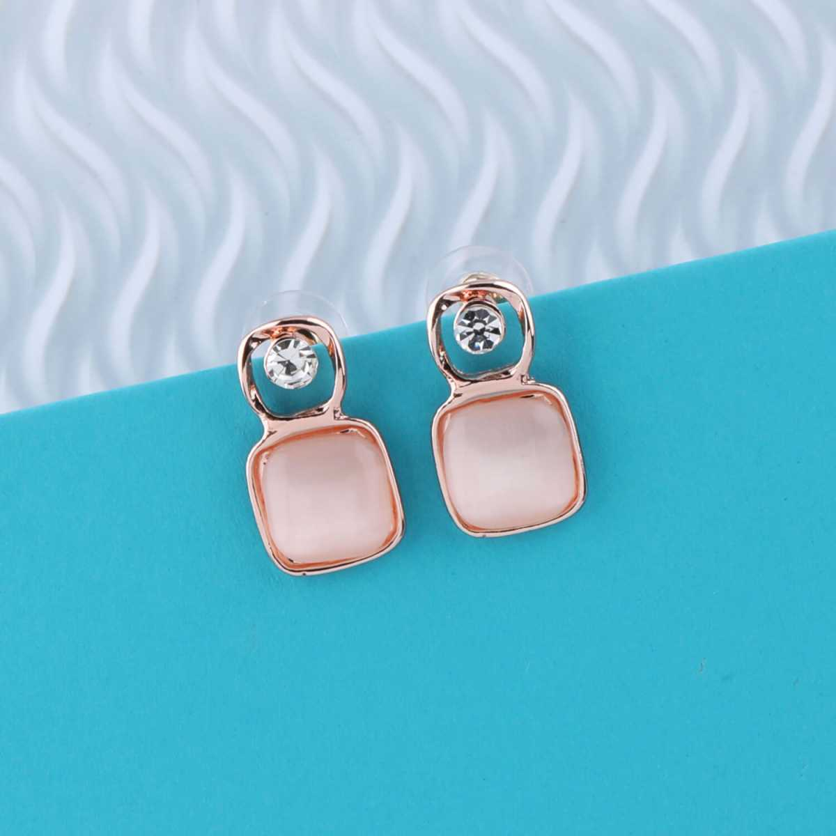 SILVER SHINE Attractive Rose Gold Plated Earring for Women and Girls.