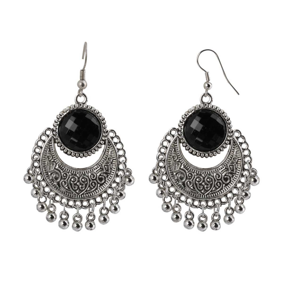Silver Shine Pretty Black Stone Chandbali Small Dangler Earrings for Women