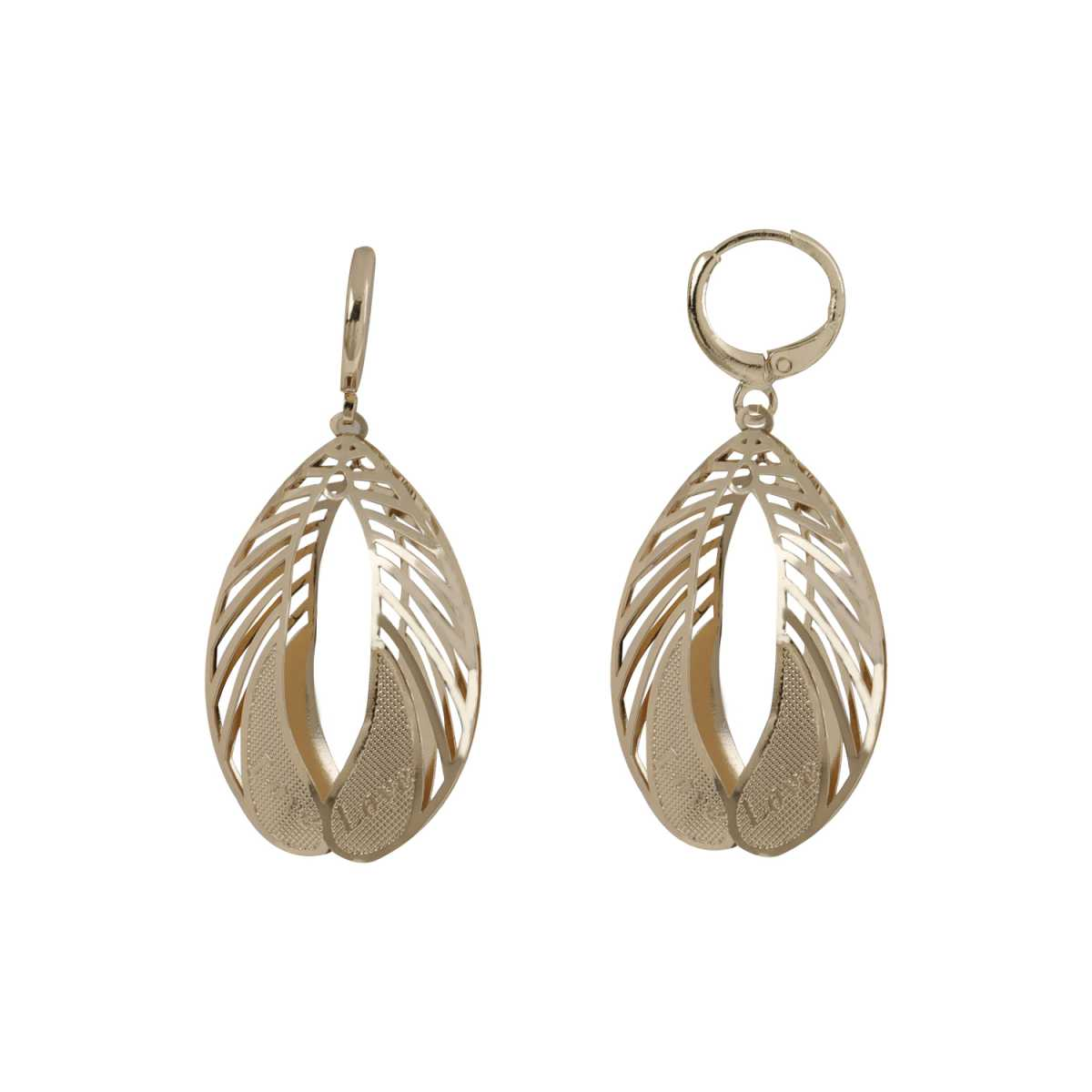 Silver Shine Tantalizing Golden Leaf Shape Clip On Bali Earring for Women