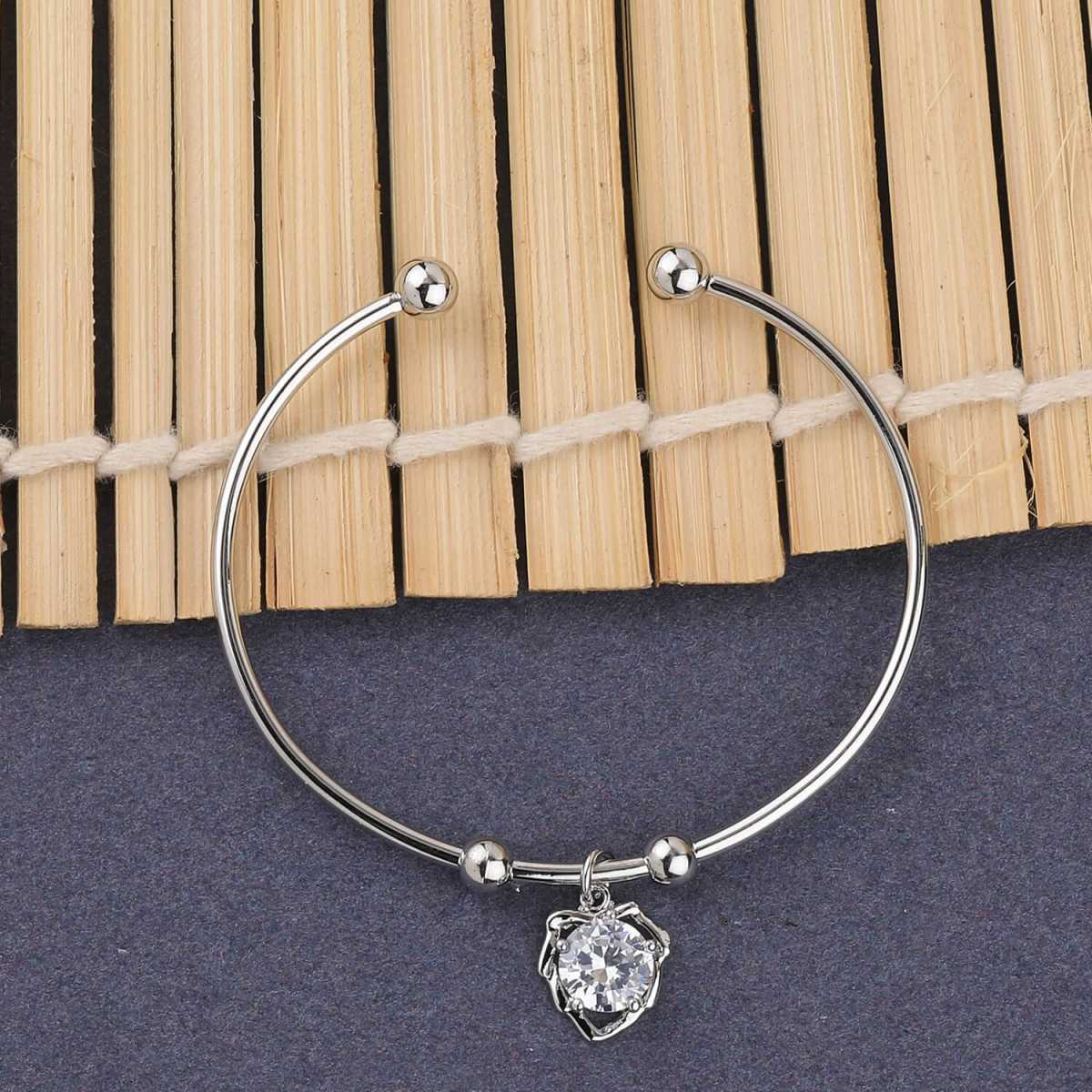 SILVER SHINE Party Wear Delicate Look Adjustable Bracelet With Diamond For Women Girls