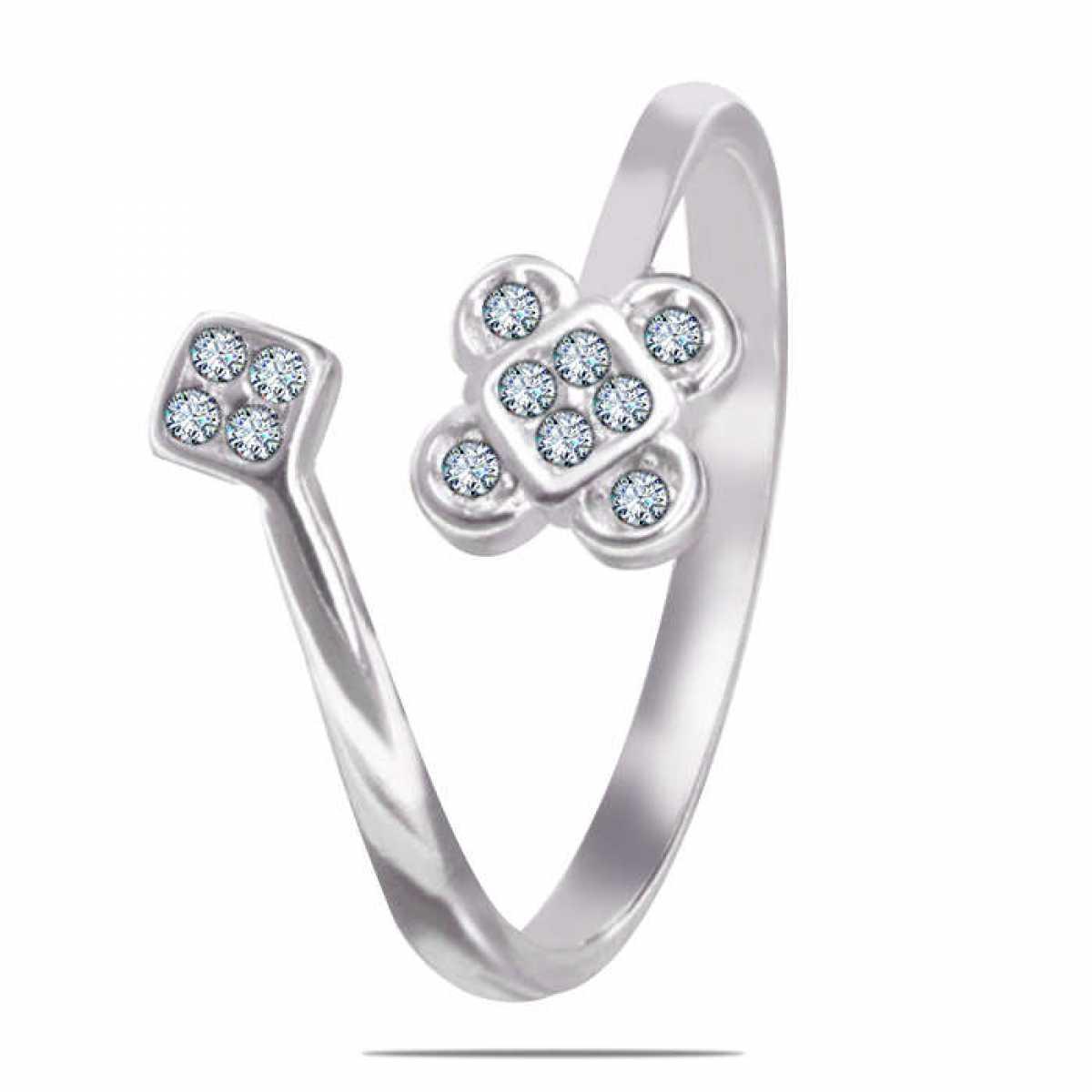 Flower leaf Diamond Silver Ring