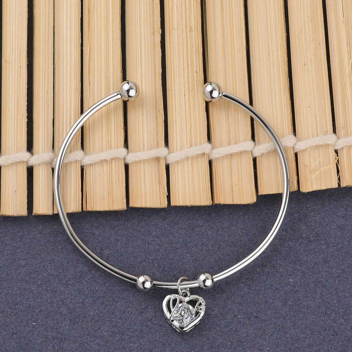 SILVER SHINE Charm Party Wear Adjustable Bracelet With Diamond For Women Girls