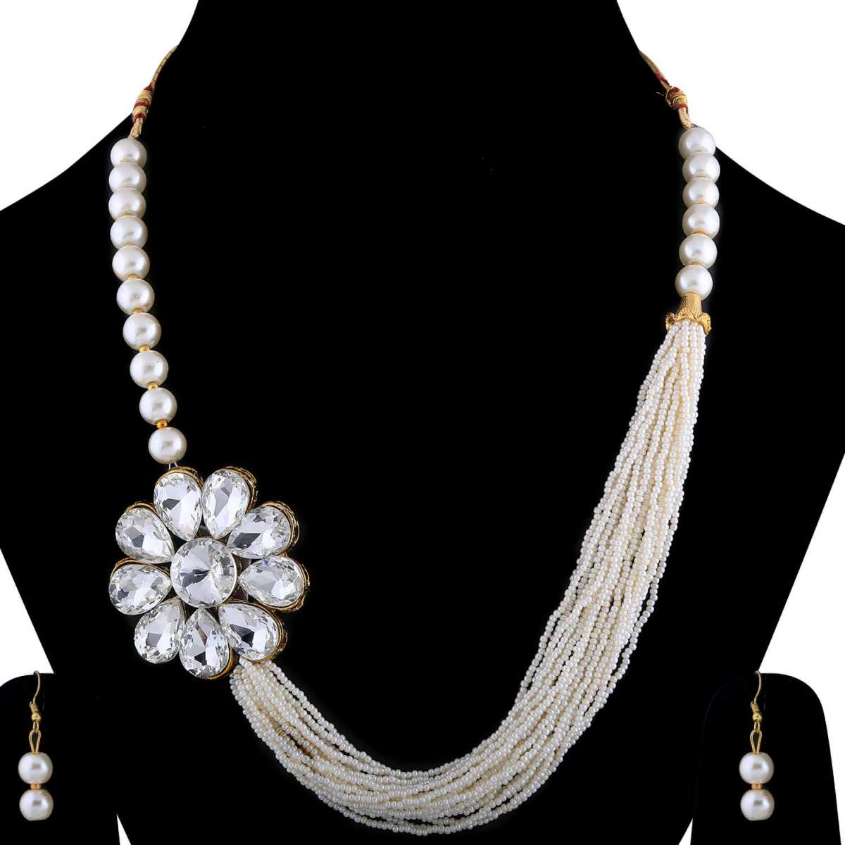 SILVERSHINE Exclusive Traditional Multi Layer Pearl Mala Set For Women And Girls