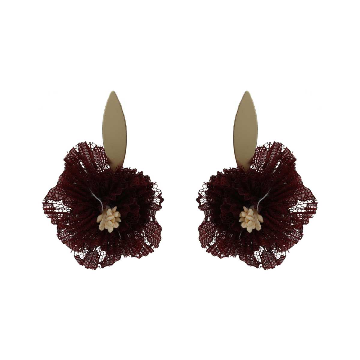 Silver Shine Artistic Maroon Handicraft Unique Stud Earring For Girls And Women