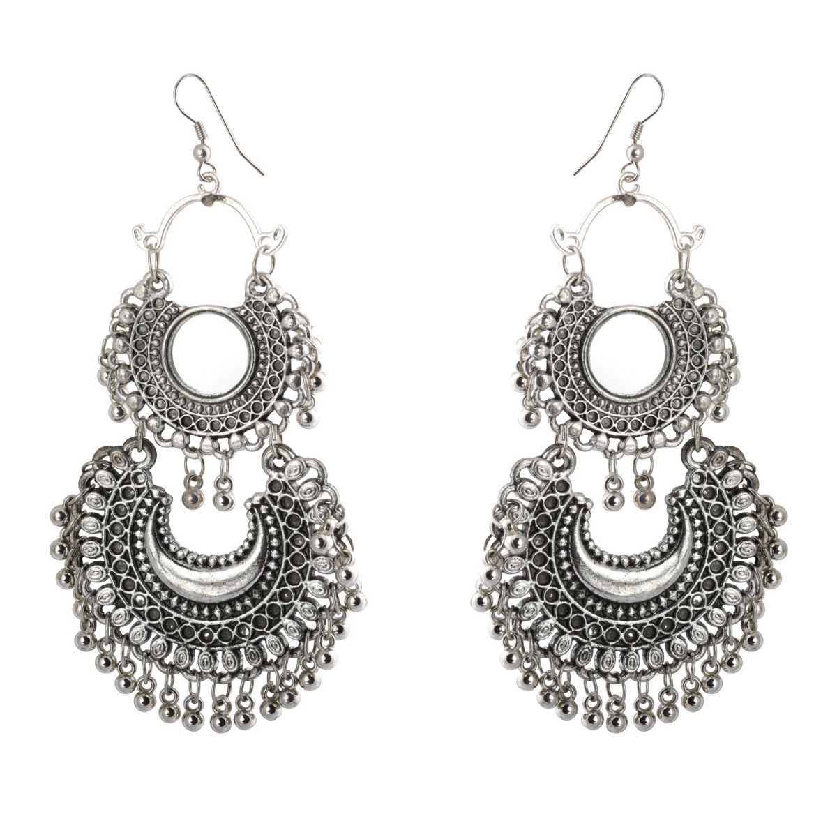 Silver Shine Stunning Silver Chandbali Mirror Small Dangler Earrings for Women