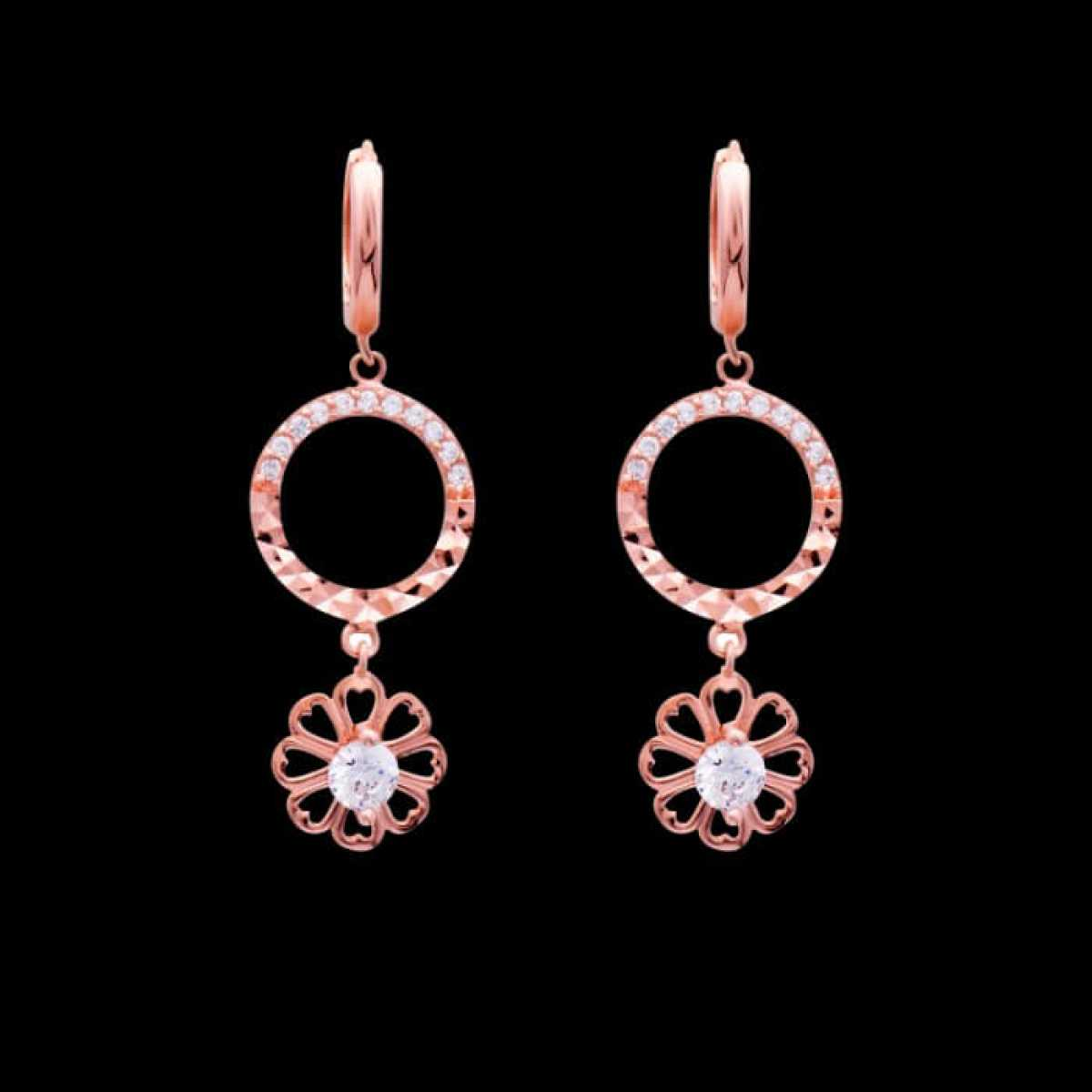 Flower Open Circle Earring