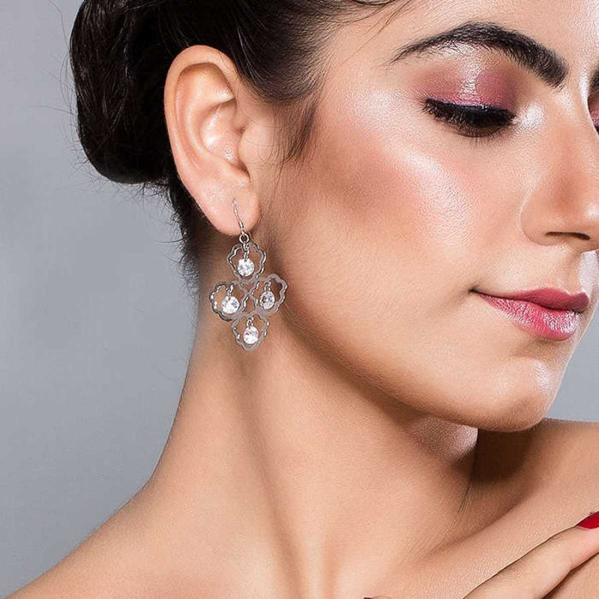Delicate Silver Drop Earring With Diamond Earring