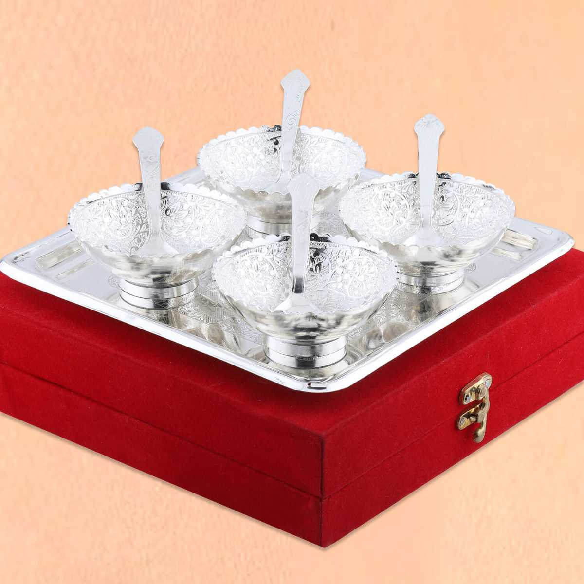 Silver Shine Silver Plated Bowl And Spoon Set With Tray For Gift-Set of 9
