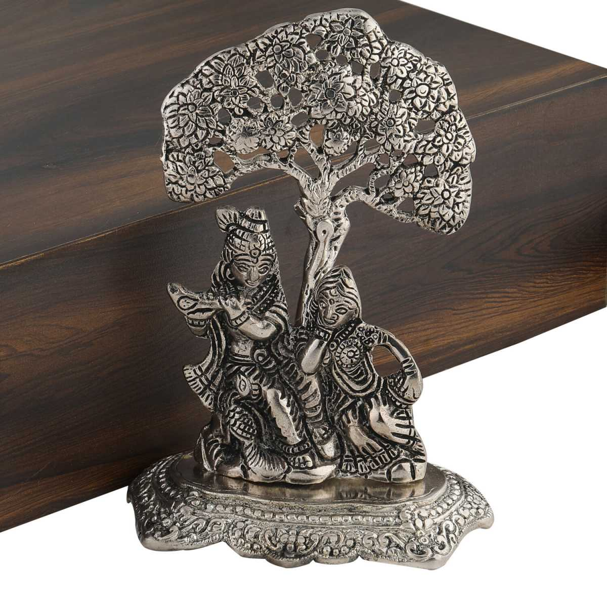 Silver Shine Silver plated Oxidised Designer Show peice of Radha-Krishna
