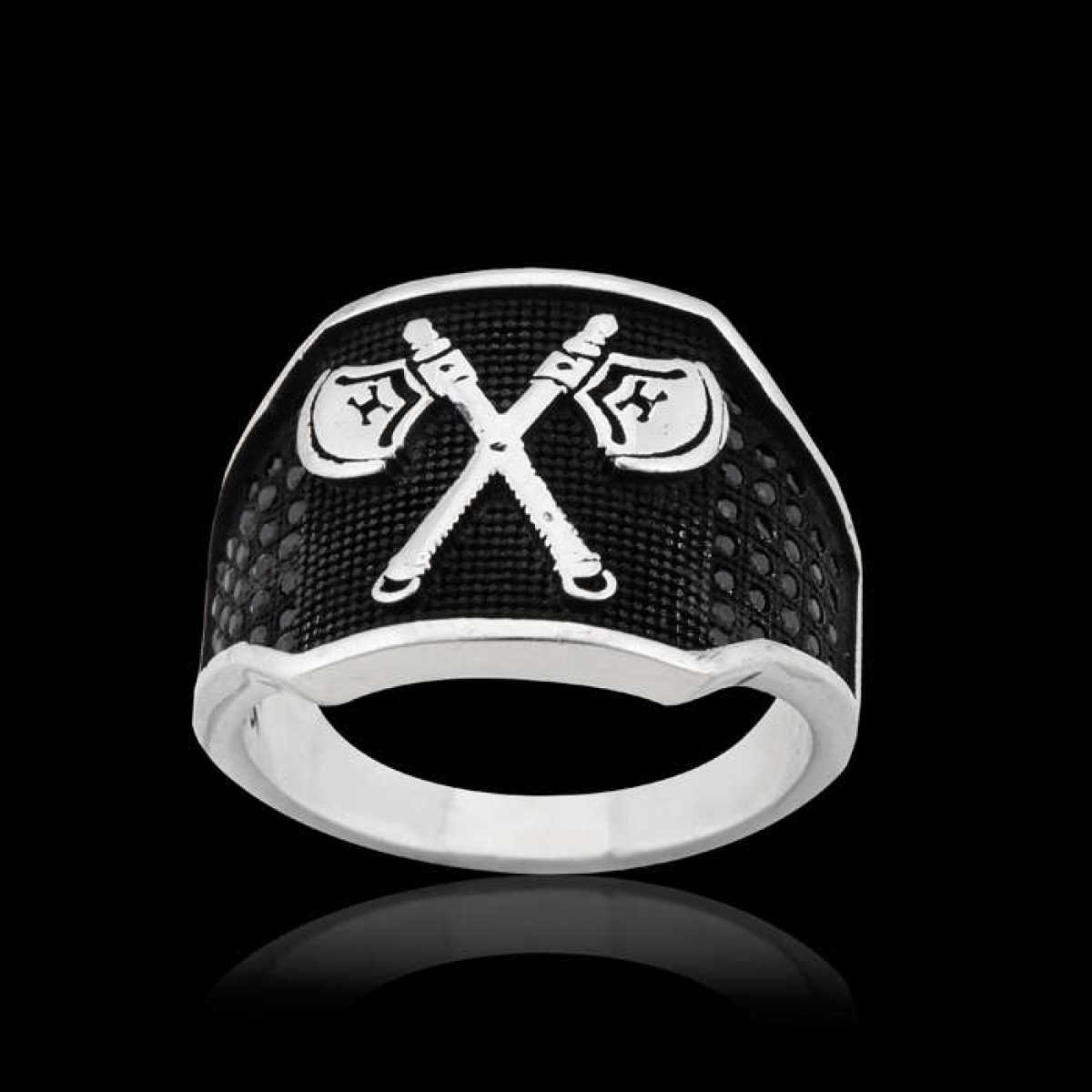 Silver Shine 92.5 Sterling Silver  Cross Axe Silver Ring  for Mens