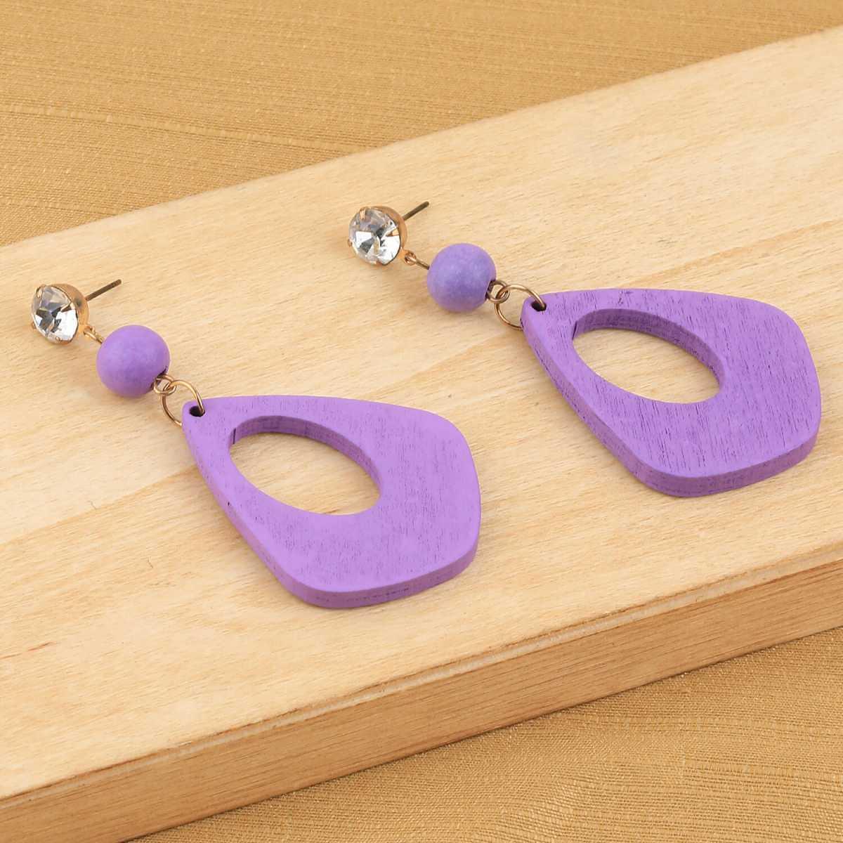 SILVER SHINE Charm designer Diamond Purple Wooden Light Weight Dangler Earrings For Girls and Women …