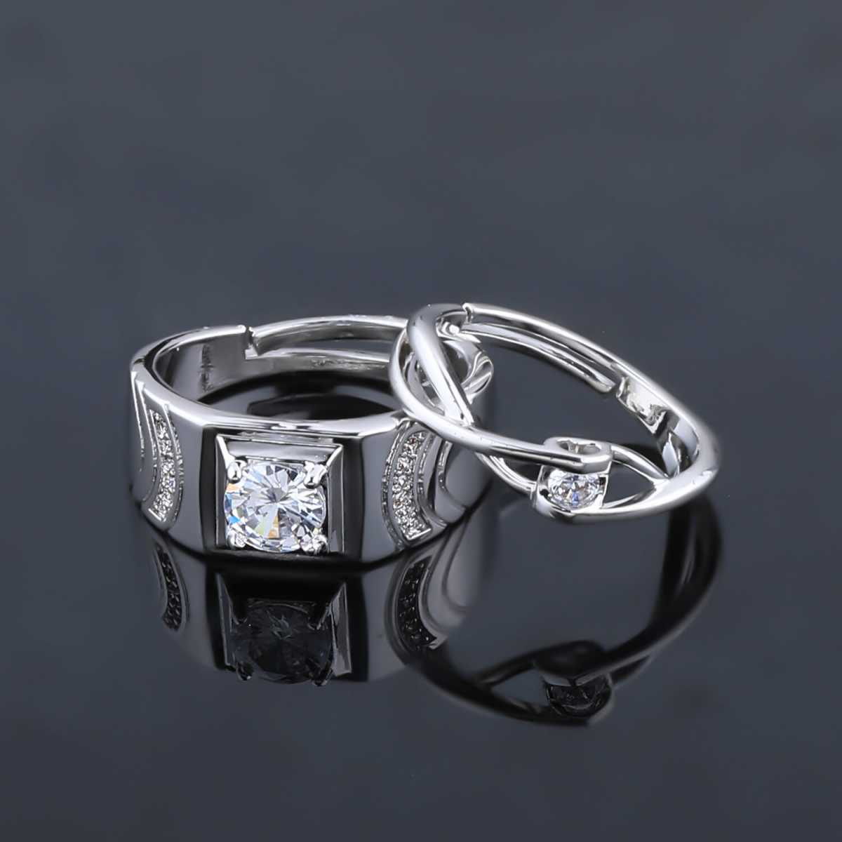 SILVERSHINE,silver plated simple single lovely crystal diamond adjustable couple ring for men and women.