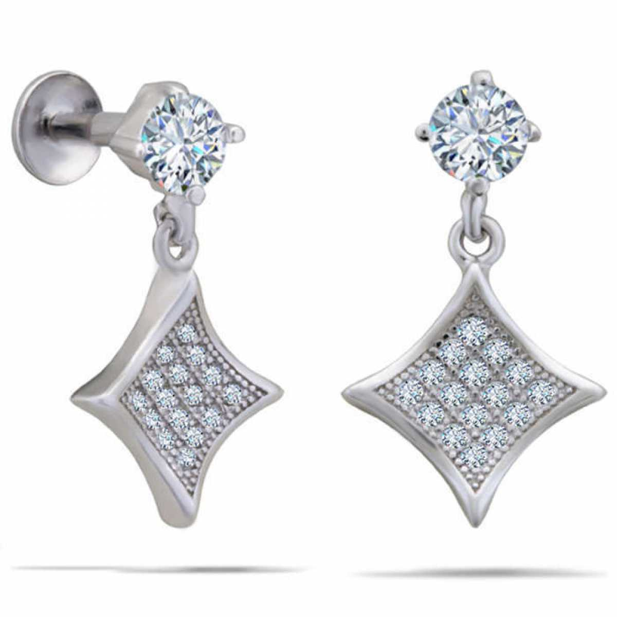 Delicate Diamond With Square Silver Earring