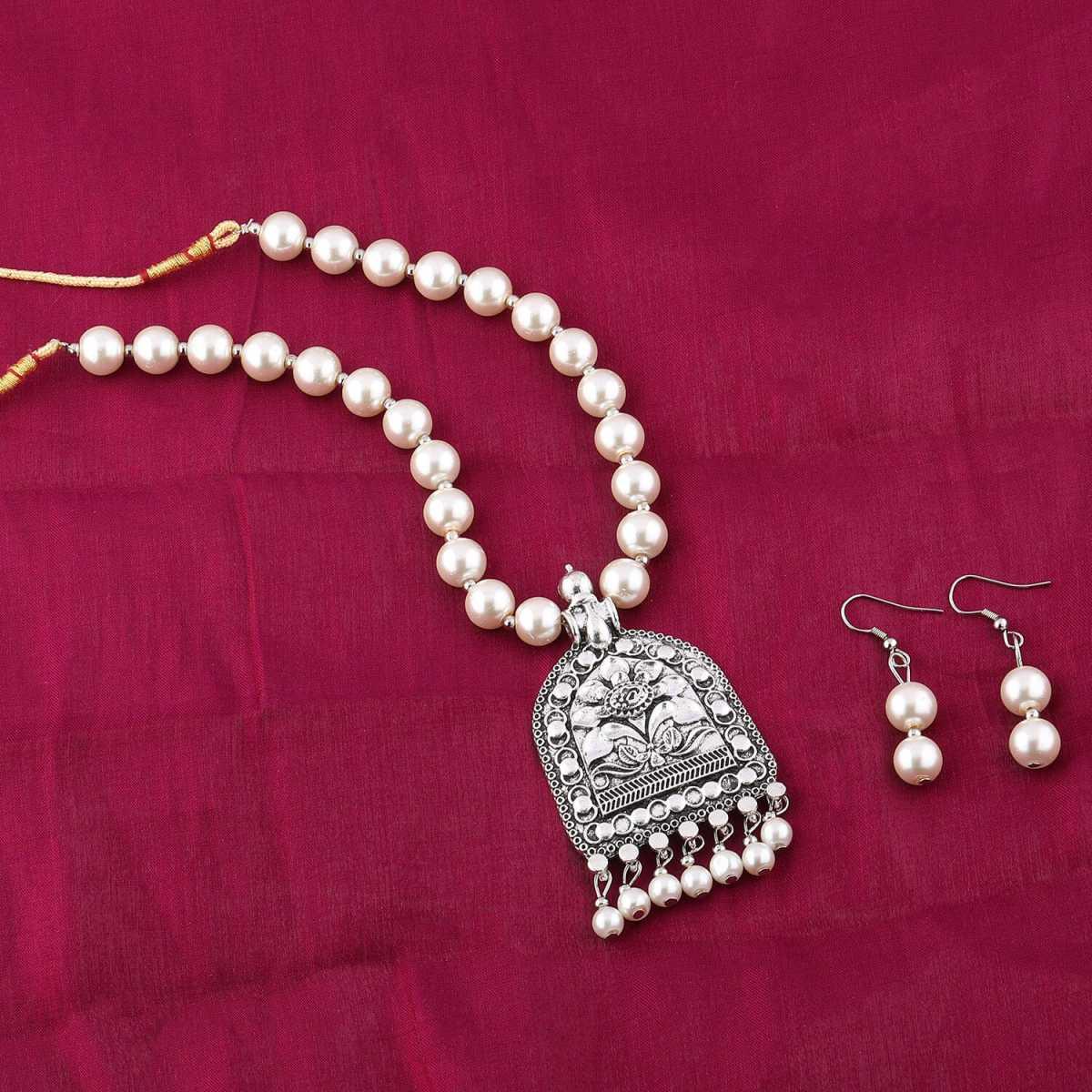 Exclusive Designer Oxidised Pendant White Pearl Jewellery set for Women