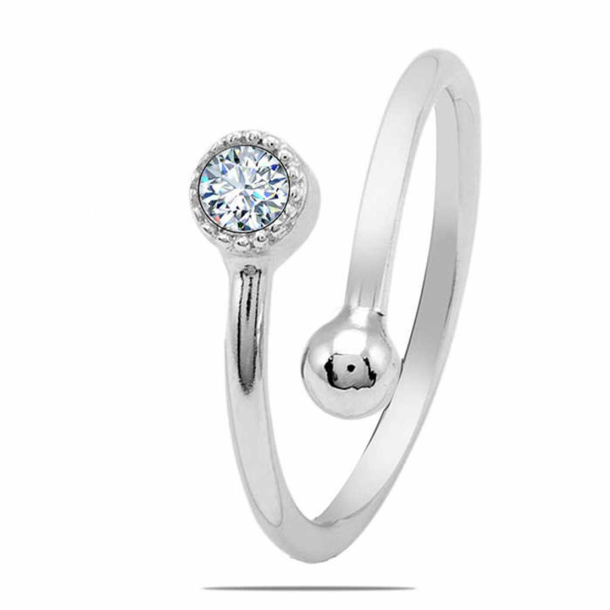 Diamond with Silver Boll Ring