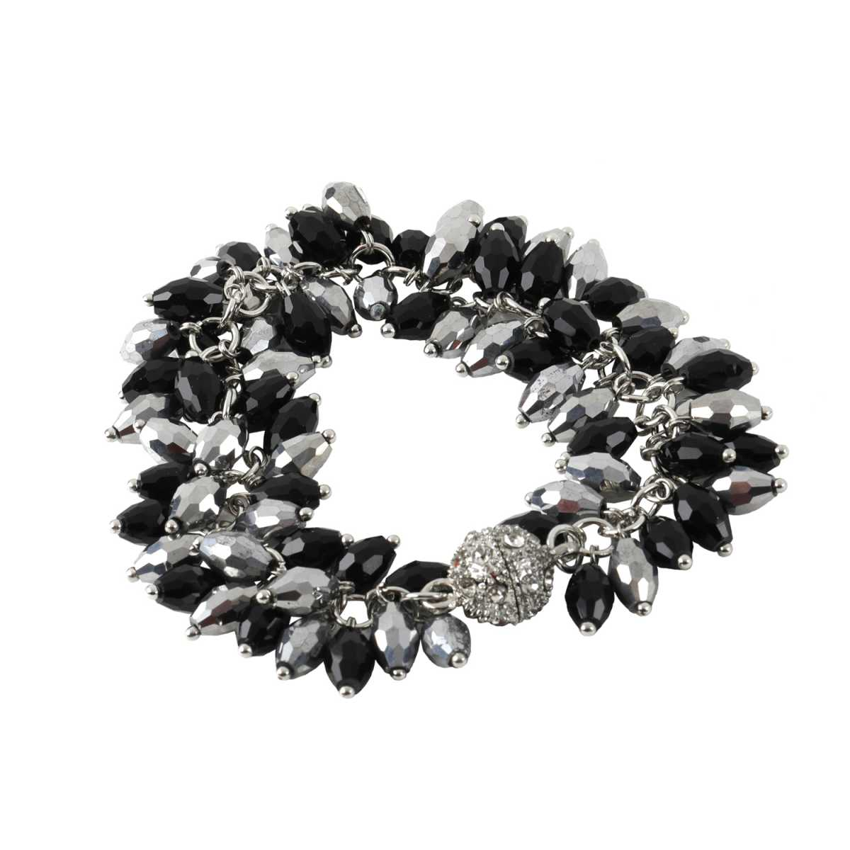 Black And Silver Pearl Diamond Bracelet For Girls And Women