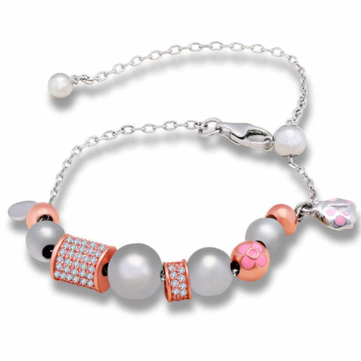 Silver & Rose Gold Pink Locket Bracelet