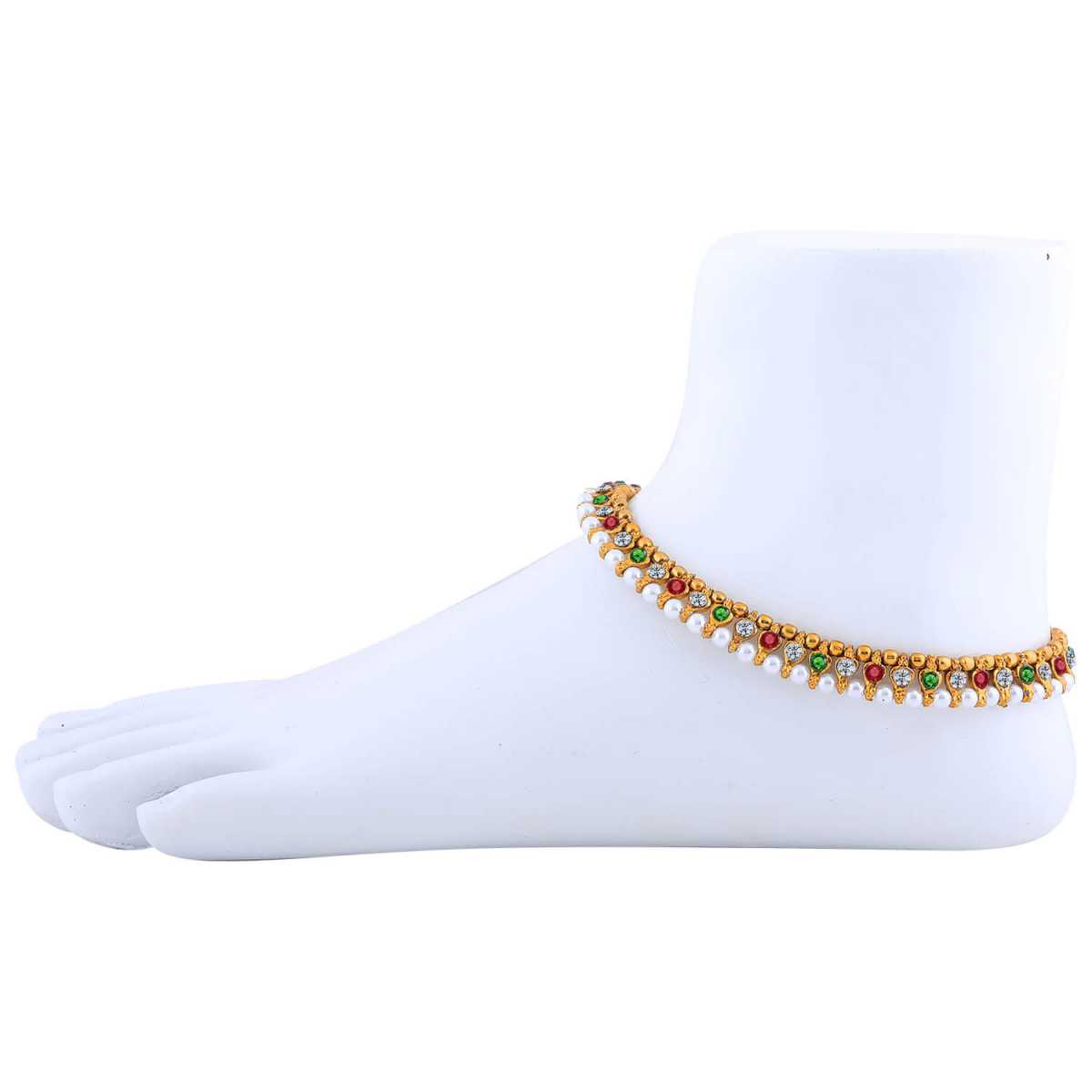 SILVER SHINE Gold plated designer Multi Color Anklet for Women And Girl