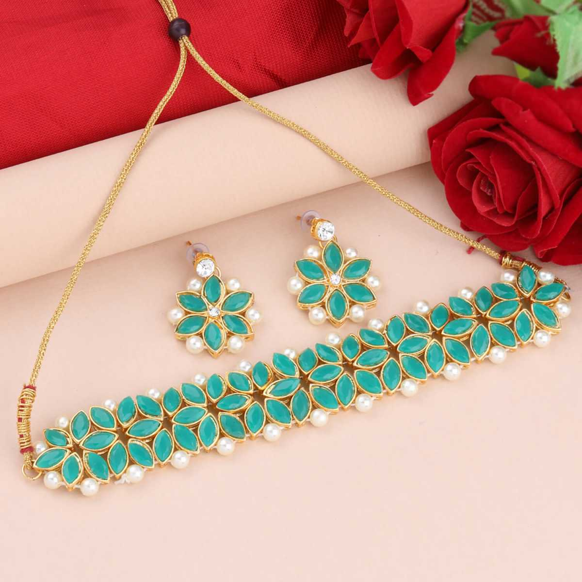 SILVER SHINE Gold Plated Exclusive Dark Green Stone Choker Set For Girls And Women