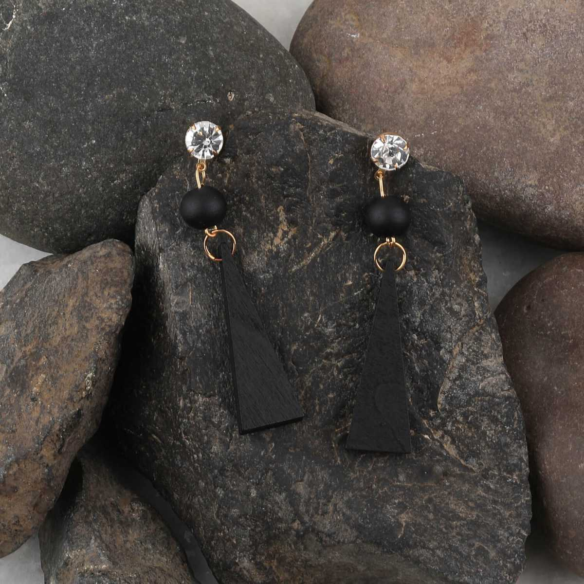 SILVER SHINE Exclusive Diamond Black Wooden Earrings Long Dangler Light Weight for Girls and Women.