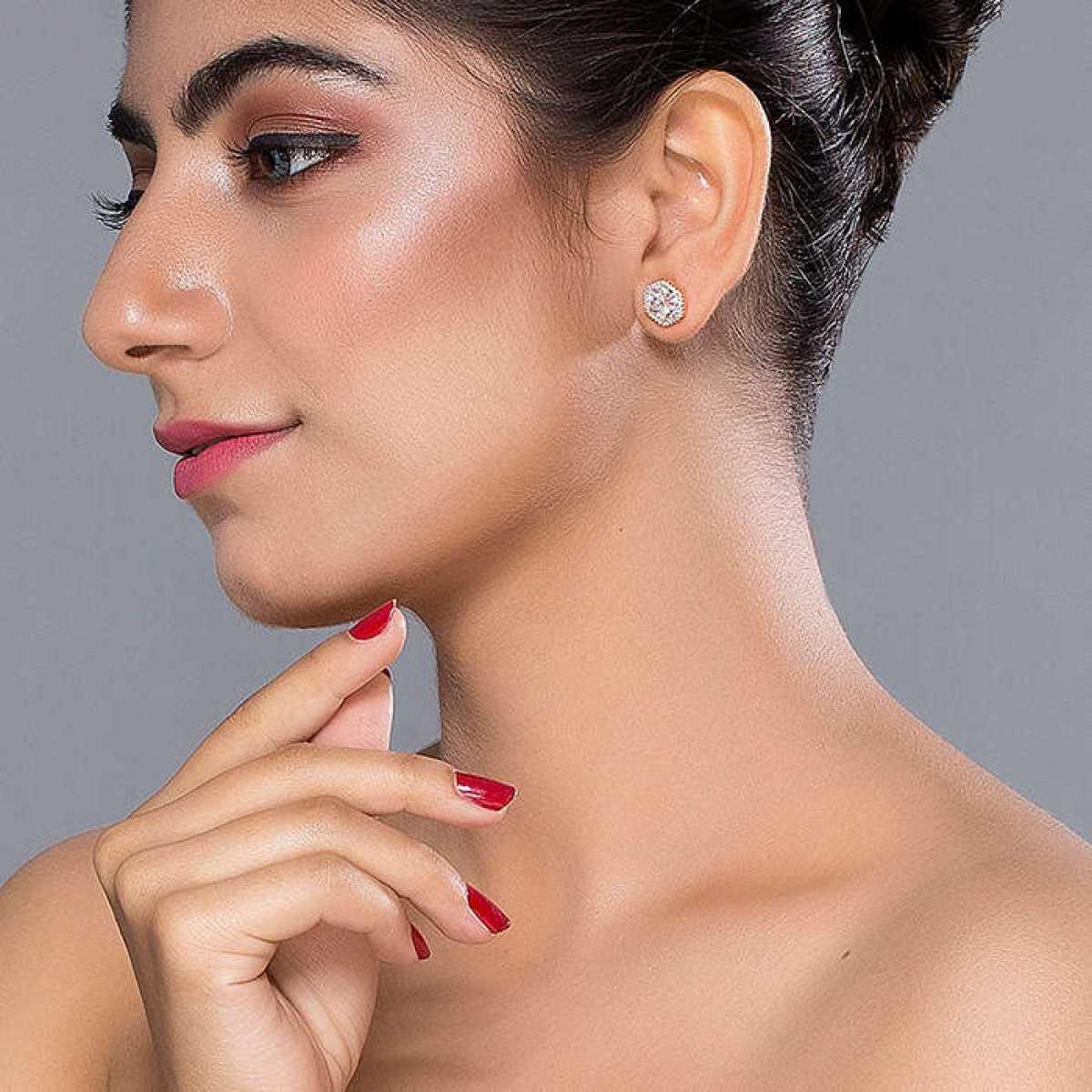 Rose Gold Octagon  Diamond Earring