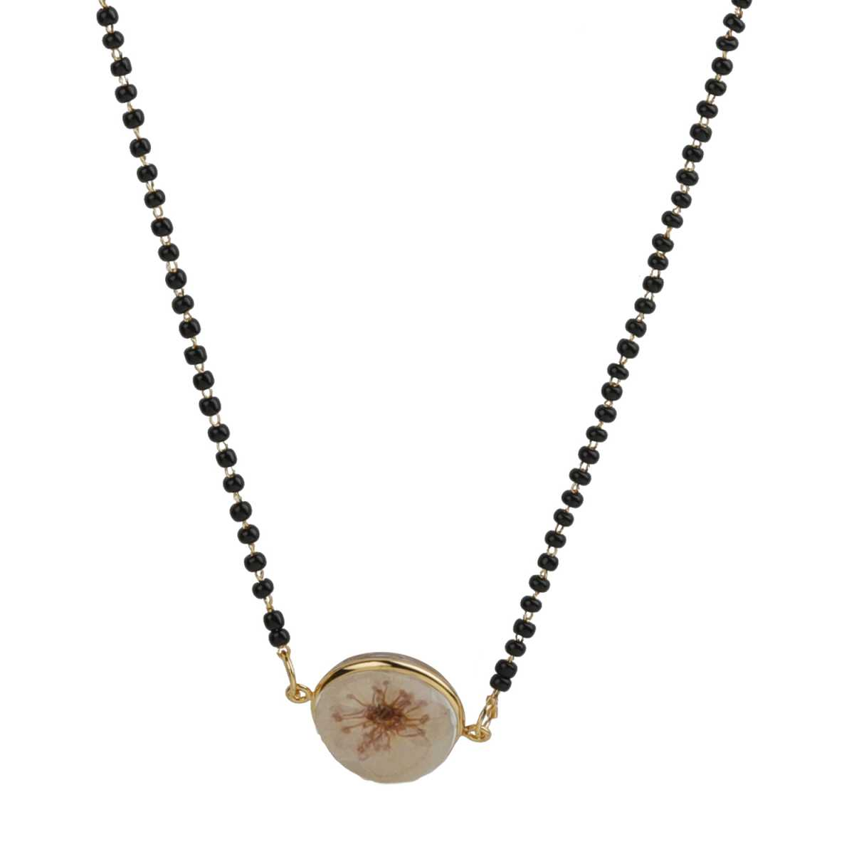 Silver Shine Lovely Black Single Beads Mangulsutra With Pendent Jewellry Of 17 Inch Chain For Women/ Housewife