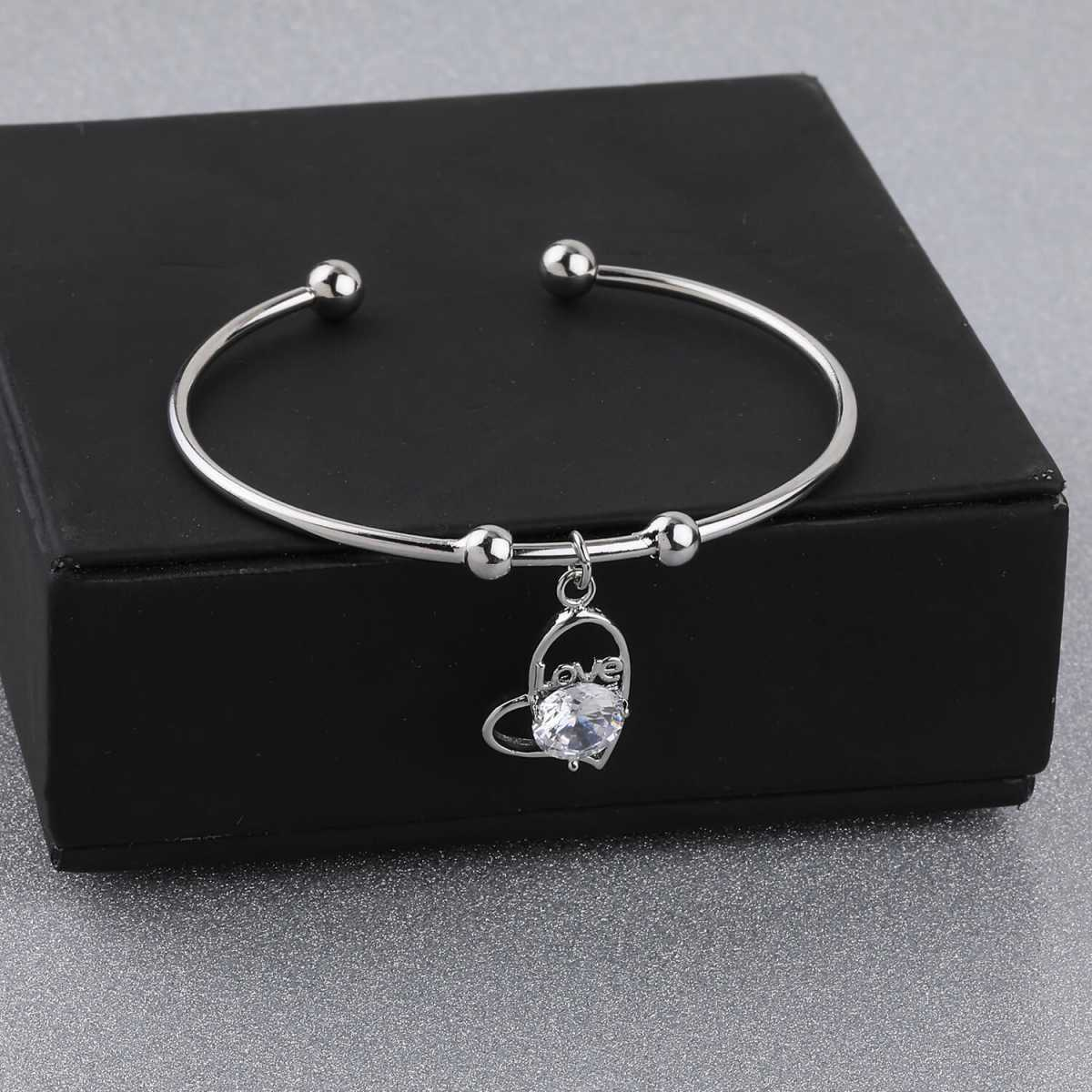 SILVER SHINE Delicated Adjustable Heart Shape Bracelet With Daimond For Women Girls