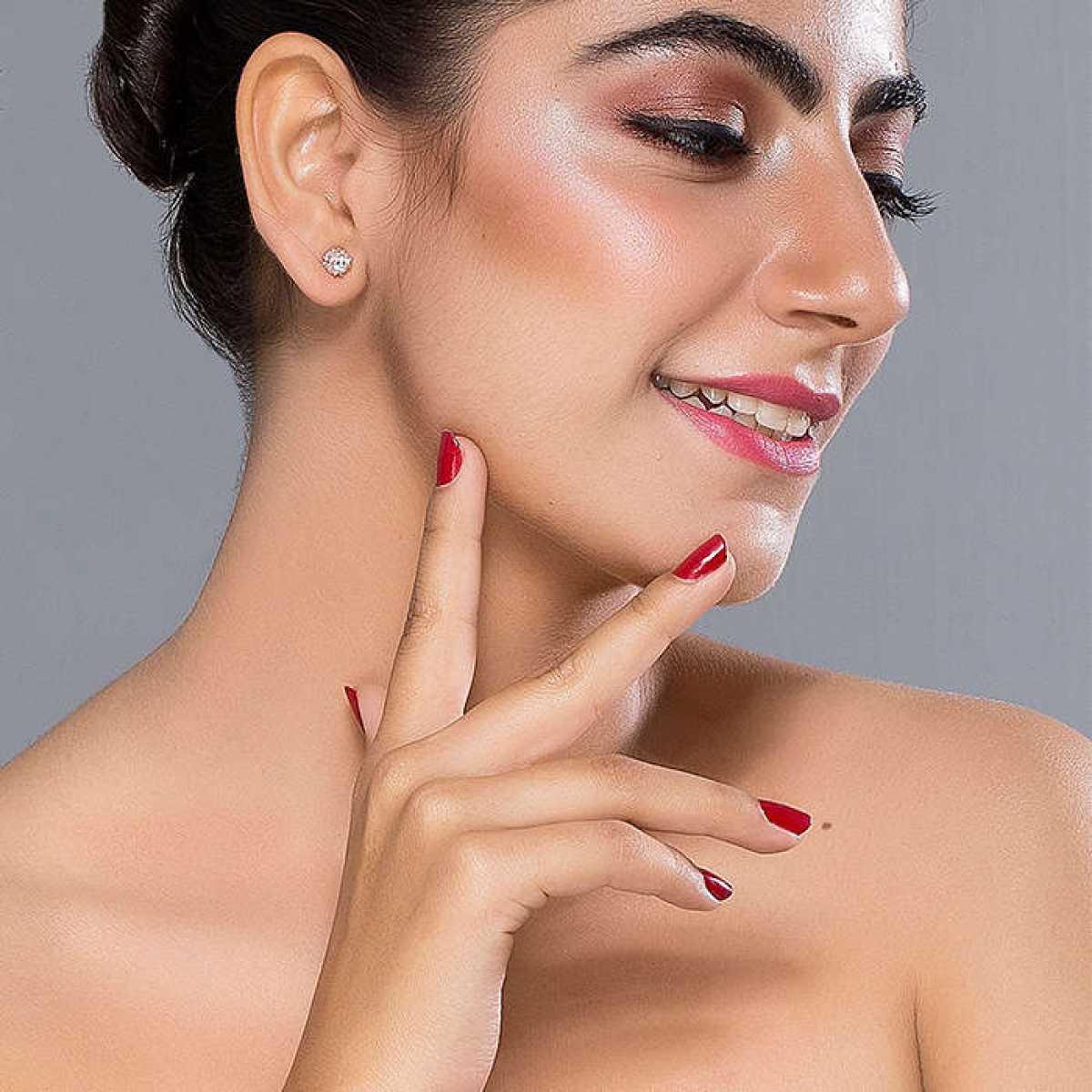Rose Gold Square Diamond Earring