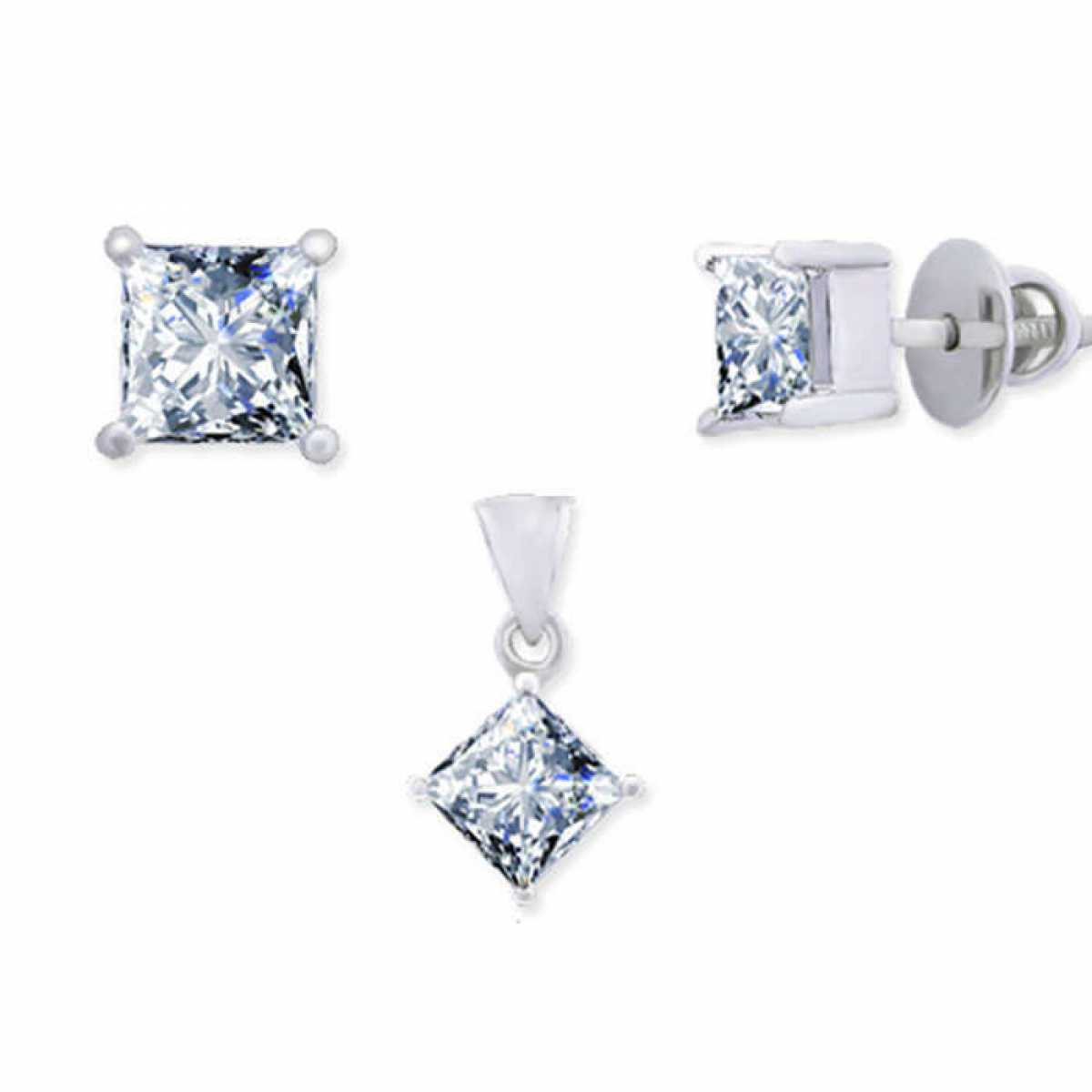 Big Diamond Square Pendant Set
