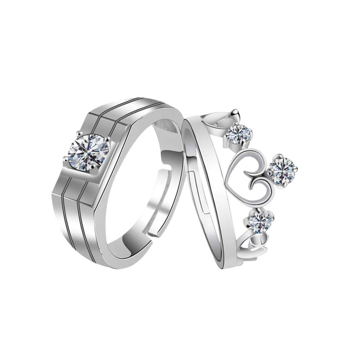 SILVERSHINE,silver plated ritzy look king and queen crown shape ring adjustable couple ring for men and women.