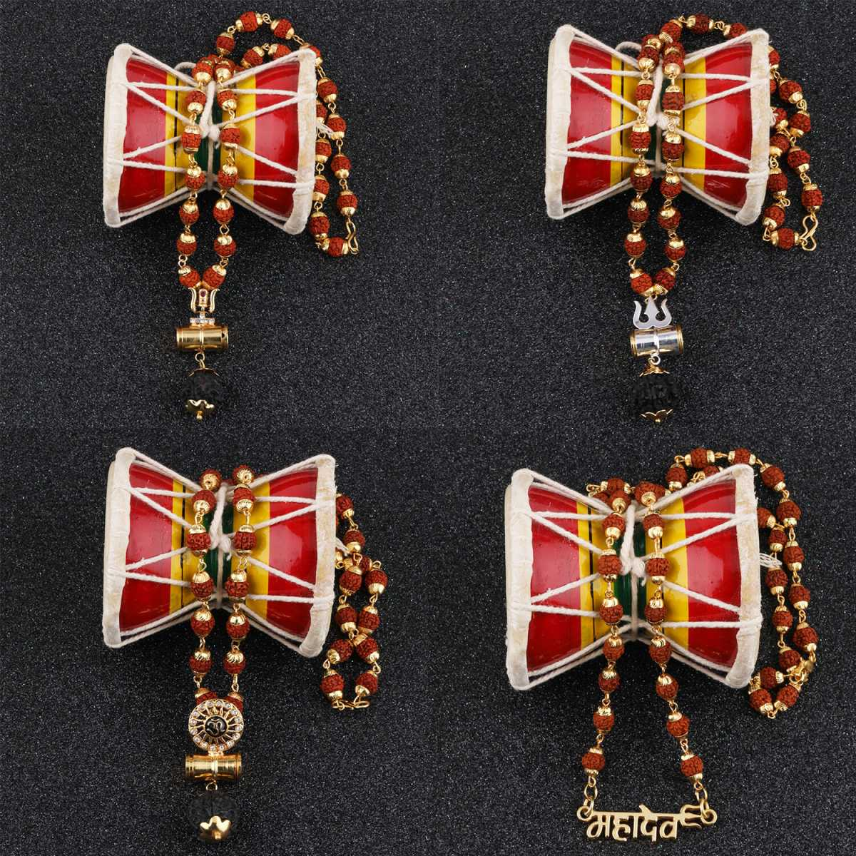 SILVER SHINE Gold Plated Traditional Combo Set Rudraksh Mala Pendant for Men and Women Set-4